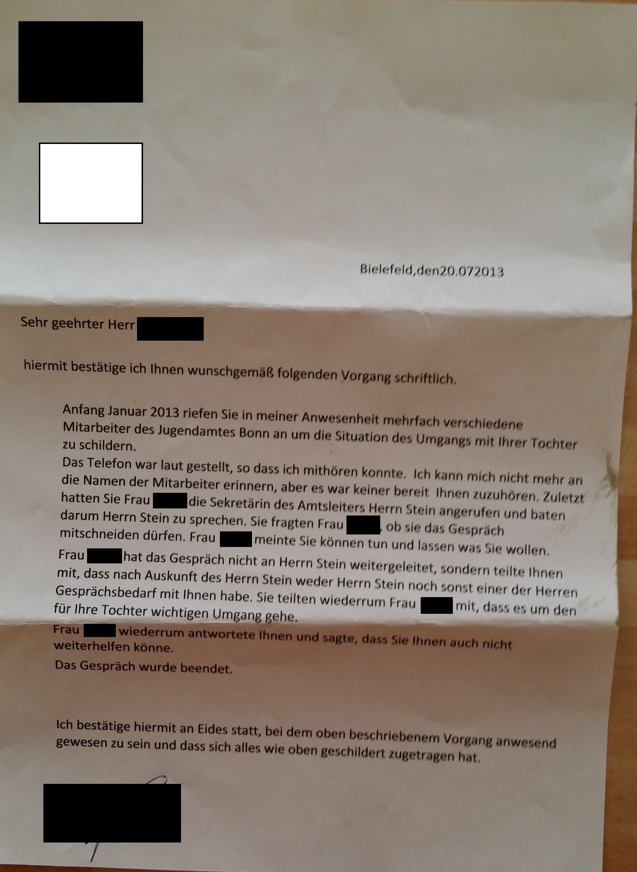 Vater & Tochter  Oder: Horst WEIBERG und das Jugendamt Bonn